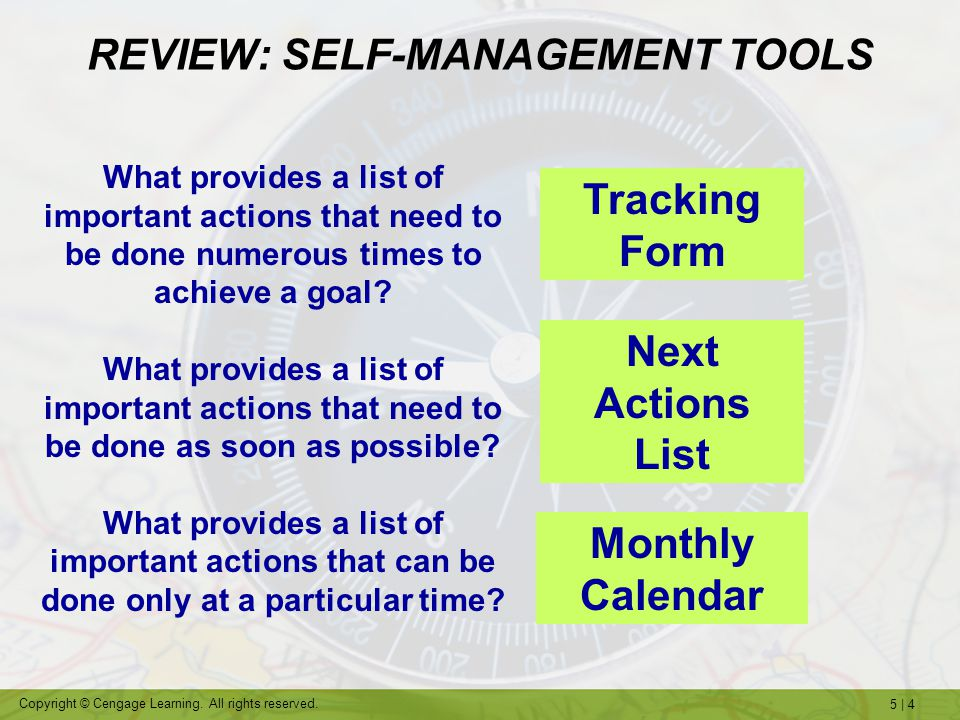 REVIEW: SELF-MANAGEMENT TOOLS