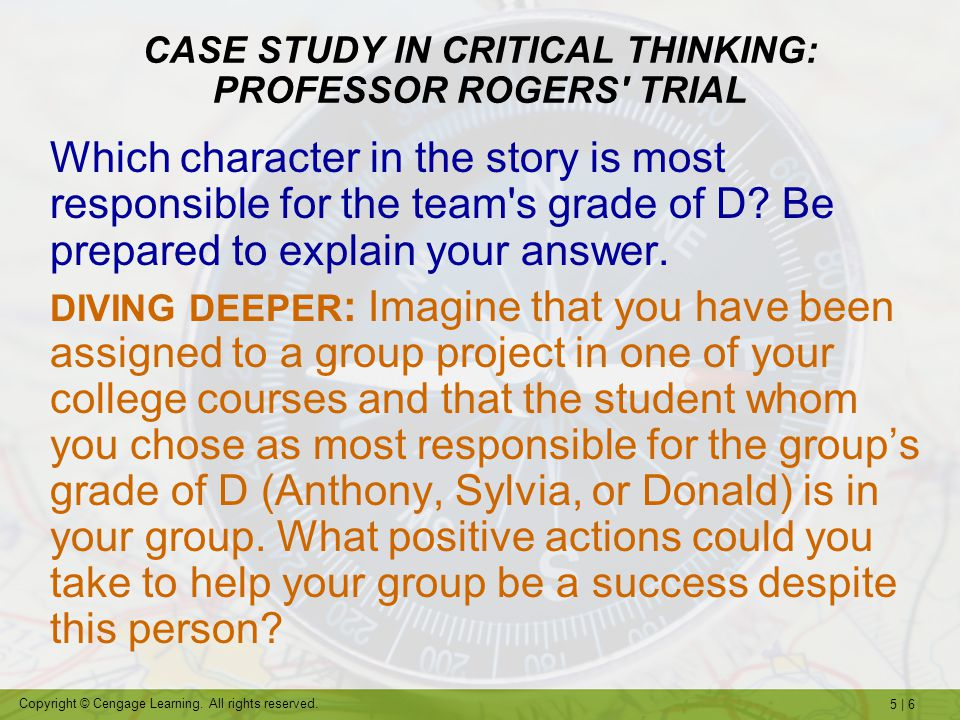 CASE STUDY IN CRITICAL THINKING: PROFESSOR ROGERS TRIAL