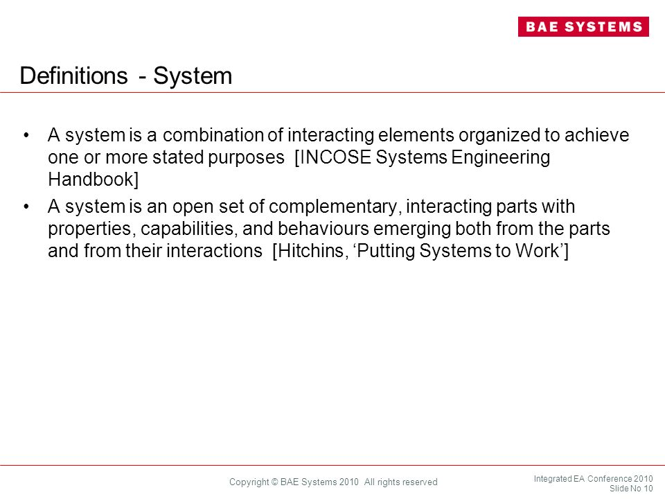 Definitions - System