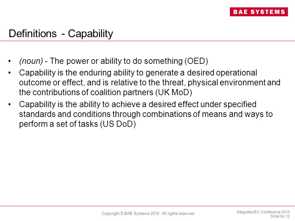 Definitions - Capability