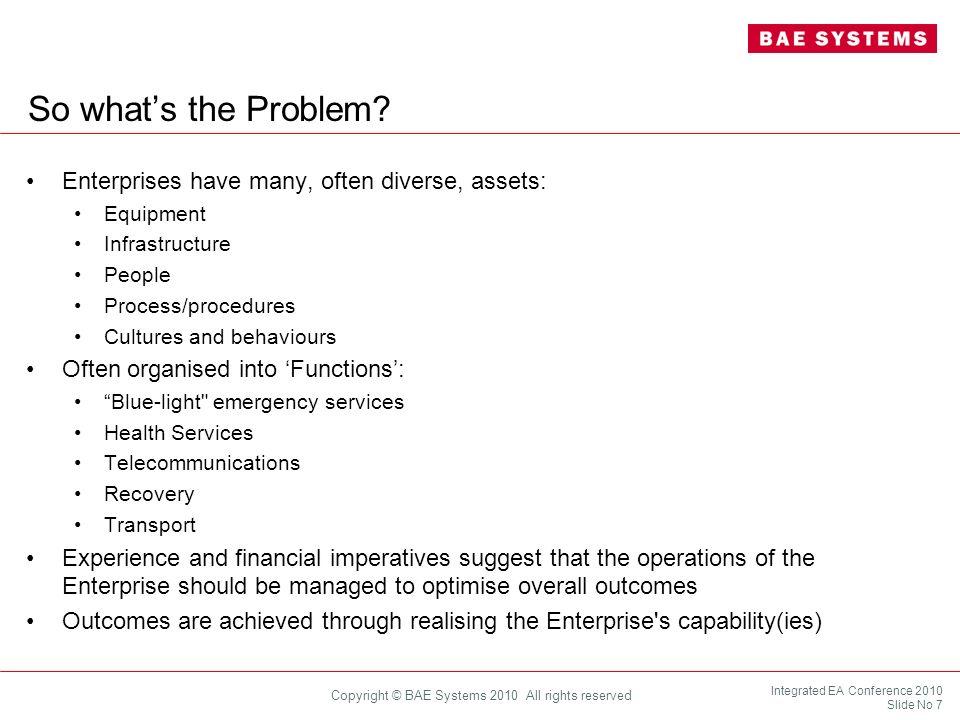 So what's the Problem Enterprises have many, often diverse, assets: