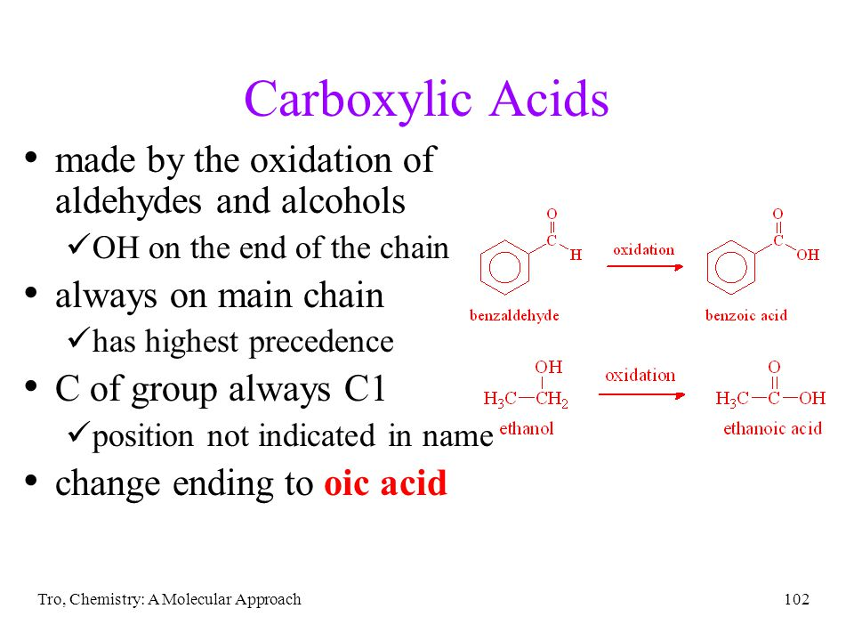Carboxylic Acids made by the oxidation of aldehydes and alcohols