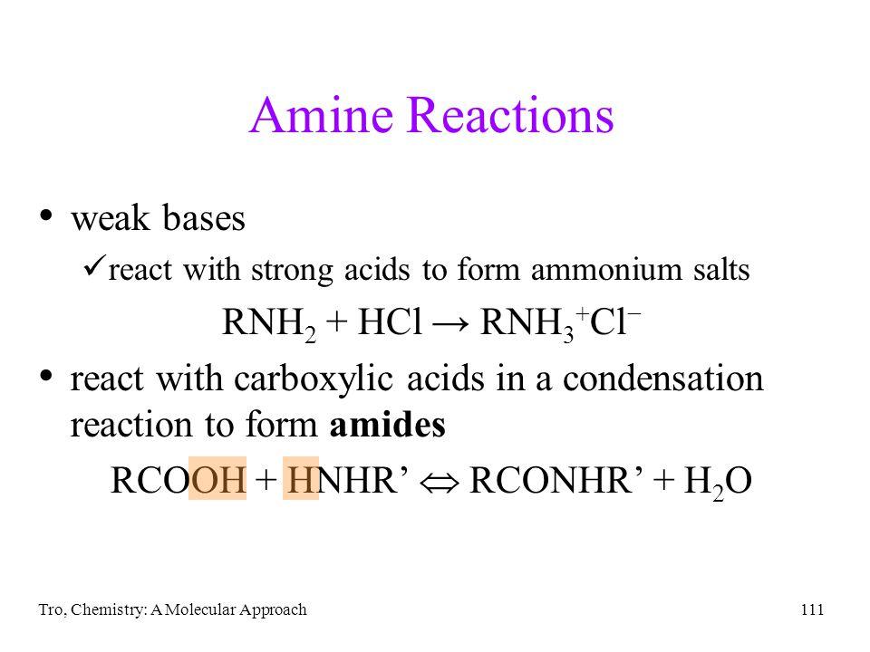 RCOOH + HNHR'  RCONHR' + H2O