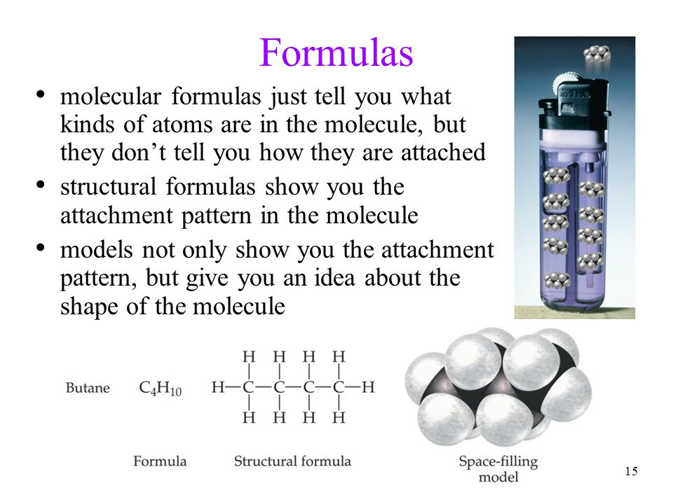 Formulas molecular formulas just tell you what kinds of atoms are in the molecule, but they don't tell you how they are attached.