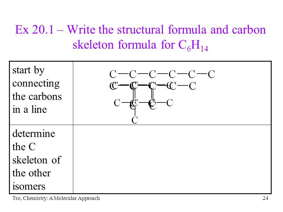 Ex 20.1 – Write the structural formula and carbon skeleton formula for C6H14