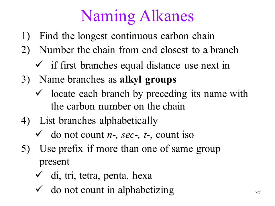 Naming Alkanes Find the longest continuous carbon chain