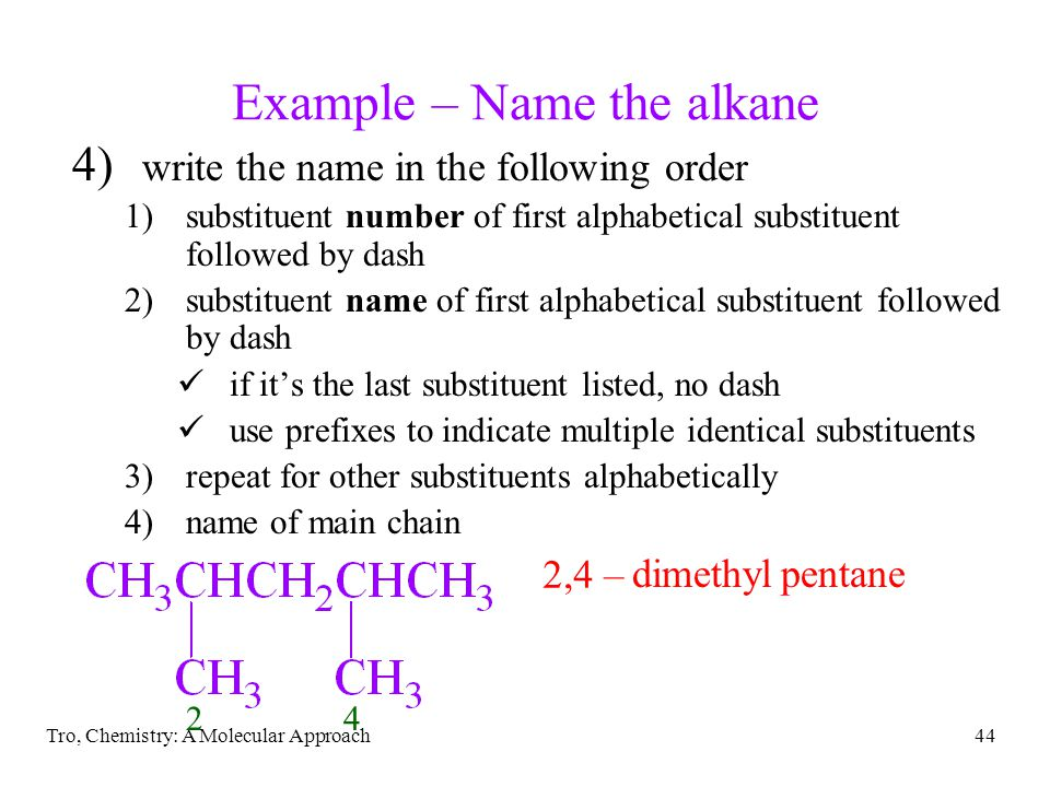 Example – Name the alkane