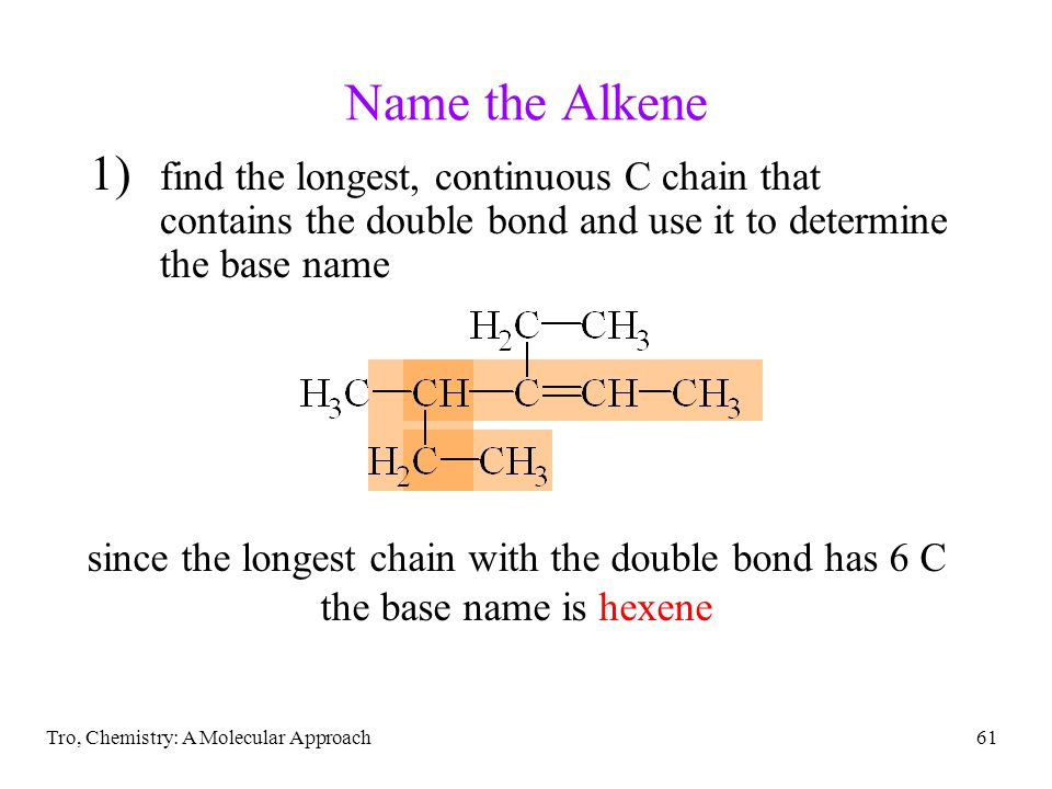 since the longest chain with the double bond has 6 C