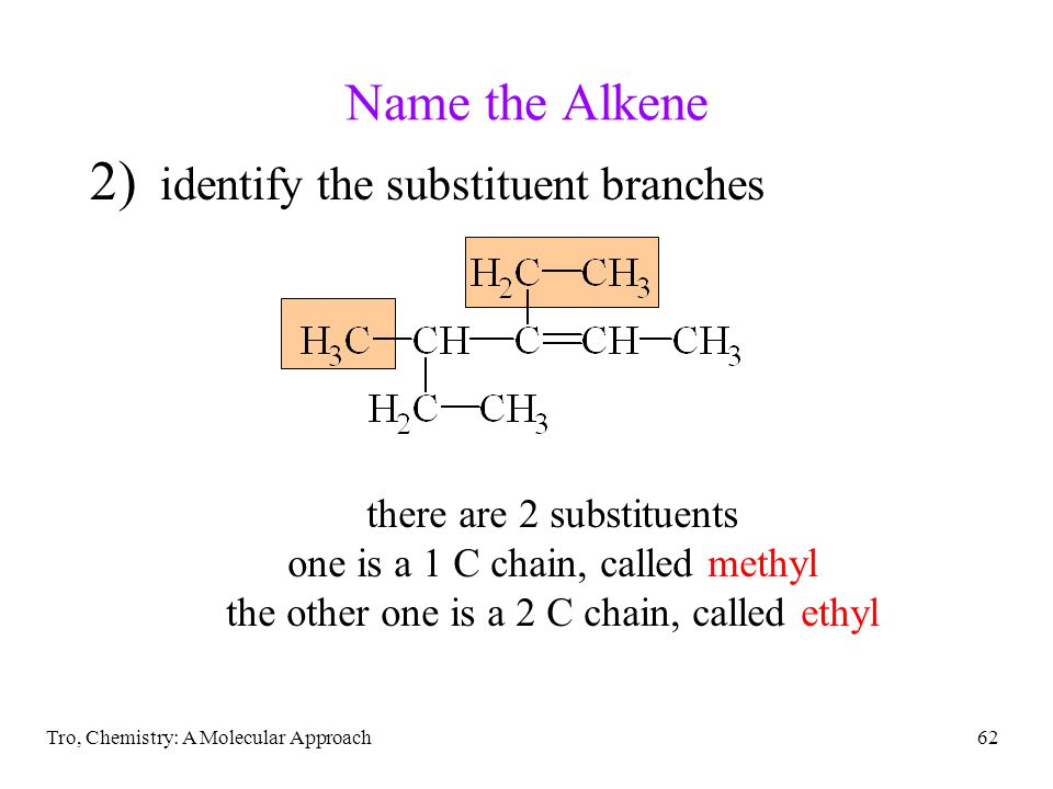 Name the Alkene identify the substituent branches