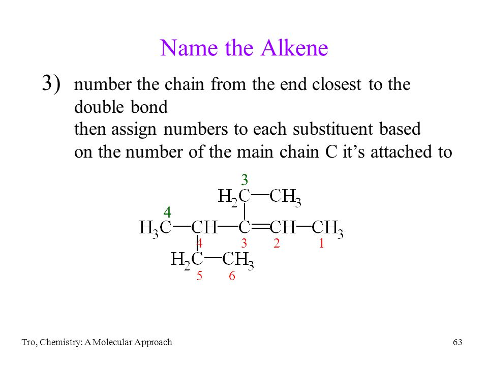 Name the Alkene number the chain from the end closest to the double bond. then assign numbers to each substituent based.