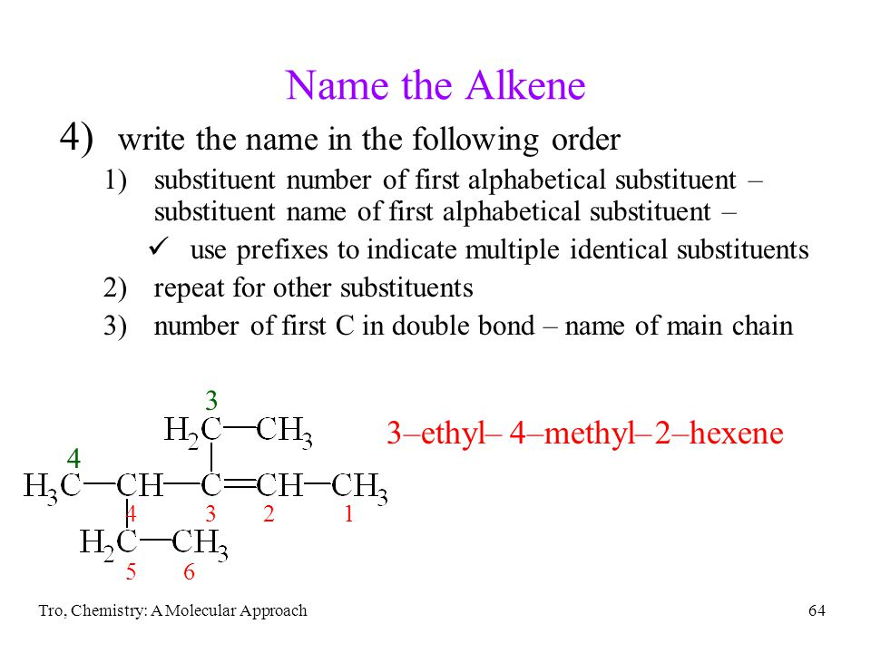 Name the Alkene write the name in the following order 3–ethyl–