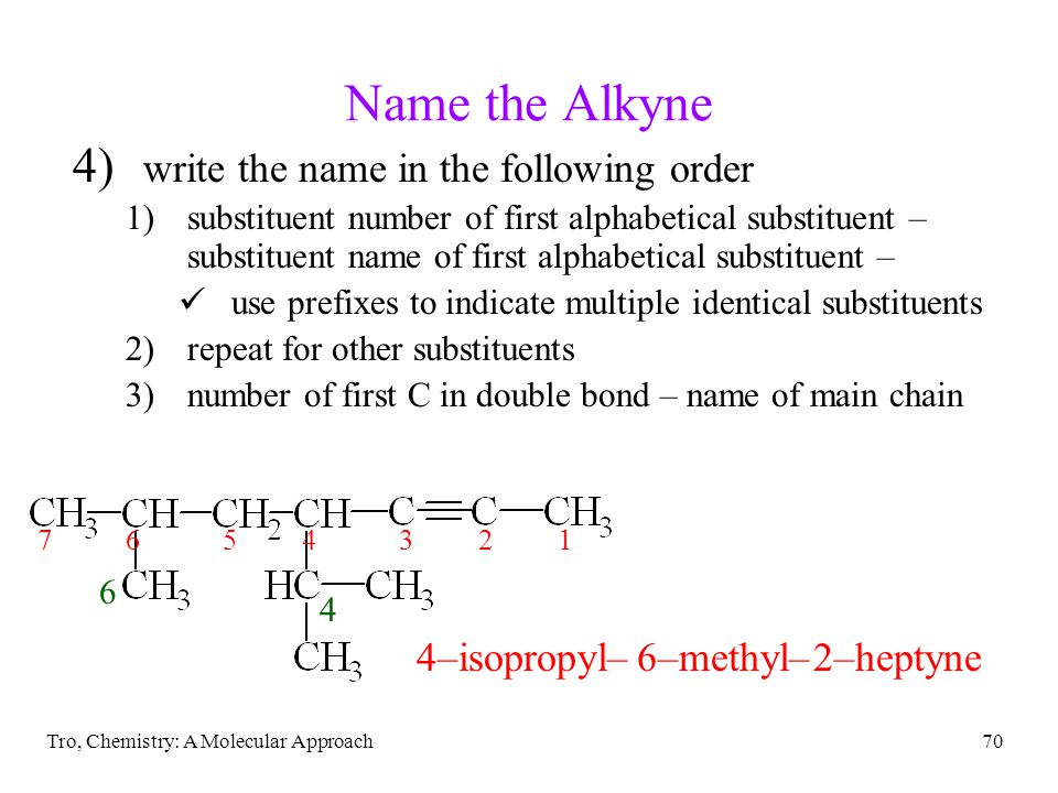 Name the Alkyne write the name in the following order 4–isopropyl–