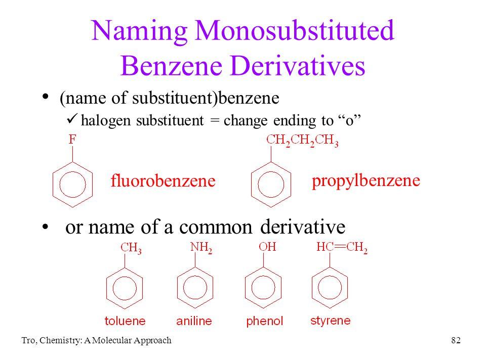 Naming Monosubstituted Benzene Derivatives