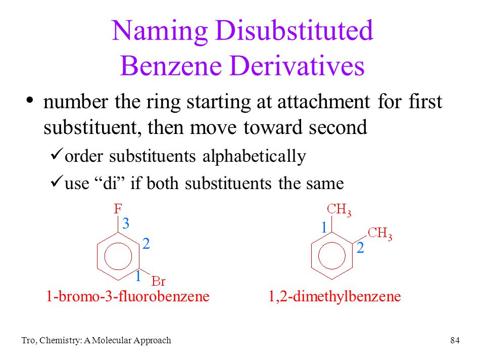 Naming Disubstituted Benzene Derivatives