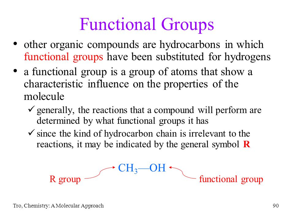 Functional Groups other organic compounds are hydrocarbons in which functional groups have been substituted for hydrogens.