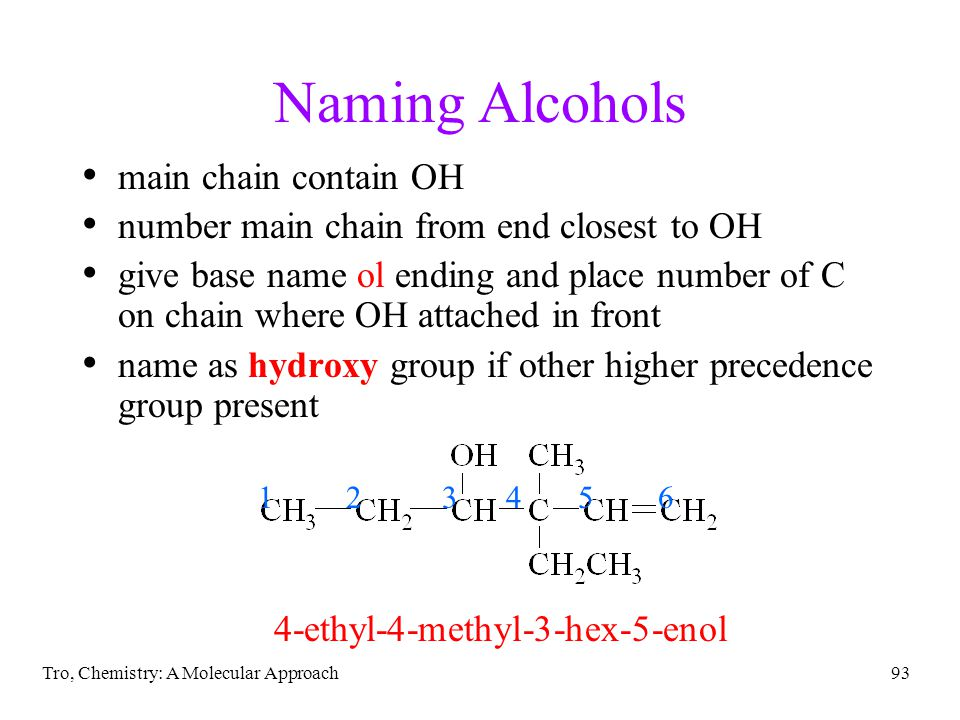 Naming Alcohols main chain contain OH