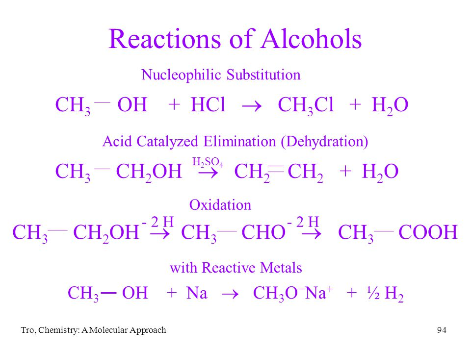 Reactions of Alcohols CH3 OH + HCl ® CH3Cl + H2O