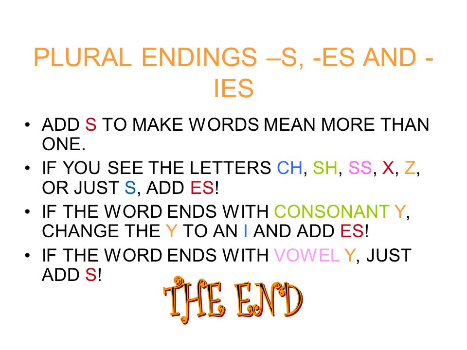 PLURAL ENDINGS –S, -ES AND -IES