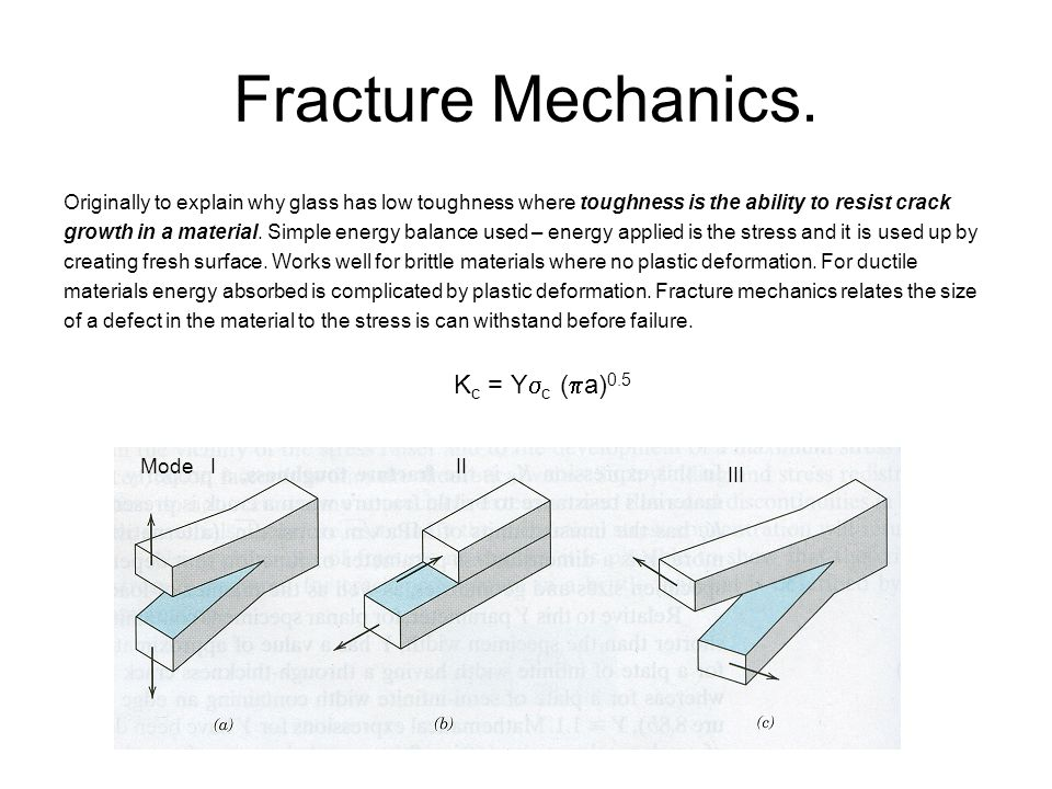 Fracture Mechanics. Originally to explain why glass has low toughness where toughness is the ability to resist crack.
