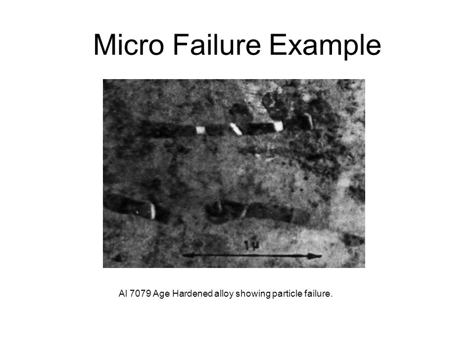 Micro Failure Example Al 7079 Age Hardened alloy showing particle failure.