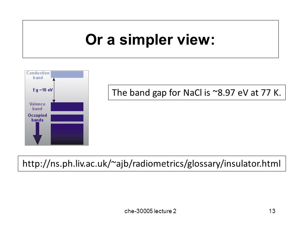 The band gap for NaCl is ~8.97 eV at 77 K.