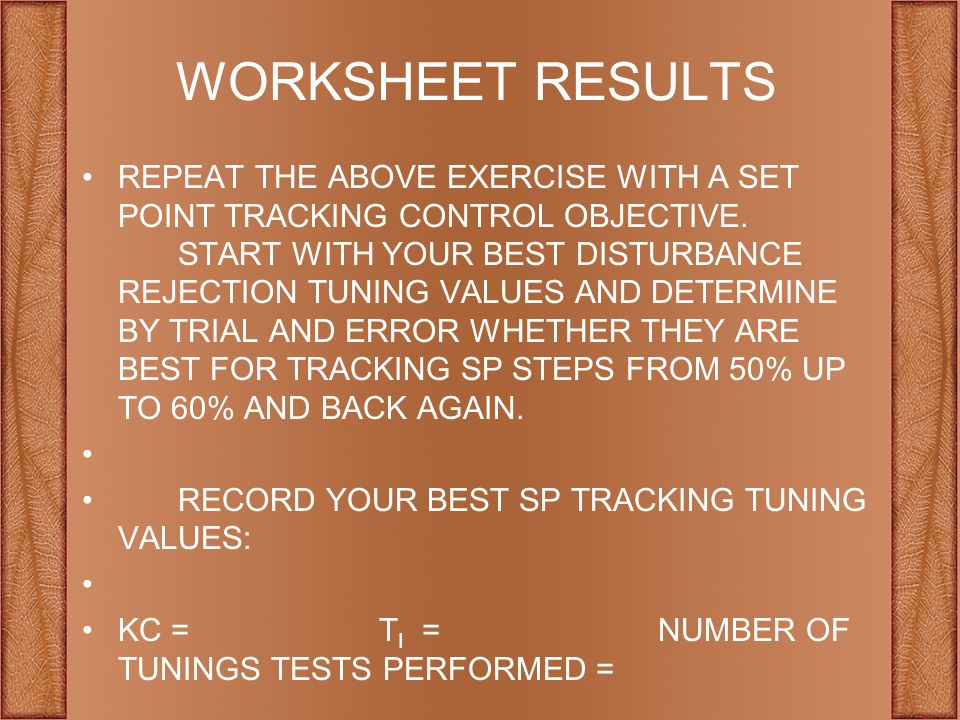 WORKSHEET RESULTS