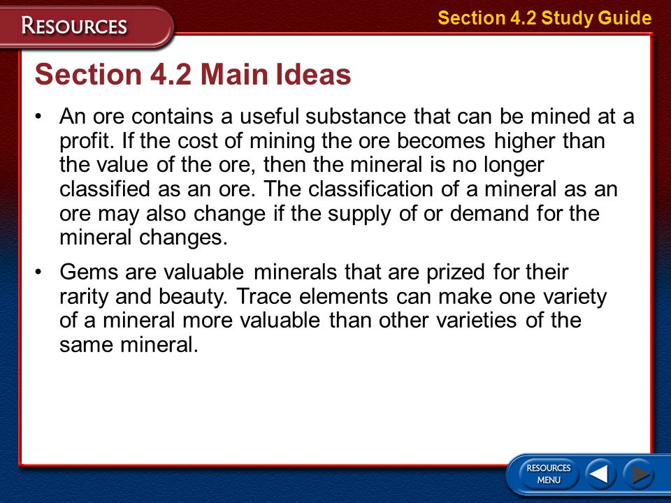 Section 4.2 Study Guide Section 4.2 Main Ideas.