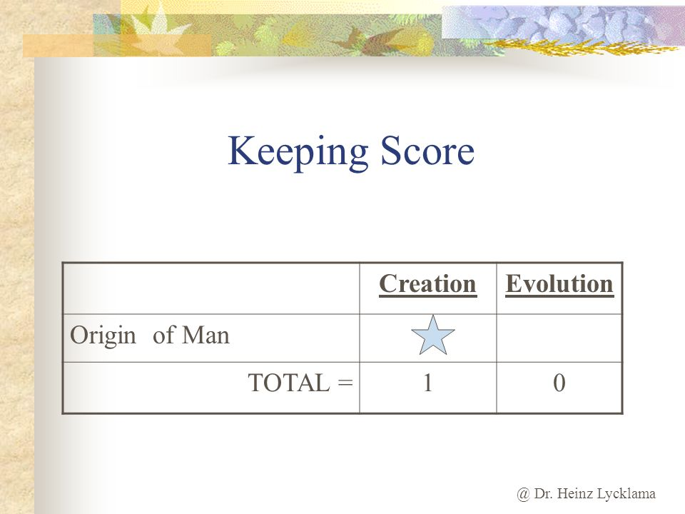 Keeping Score Creation Evolution Origin of Man TOTAL = 1