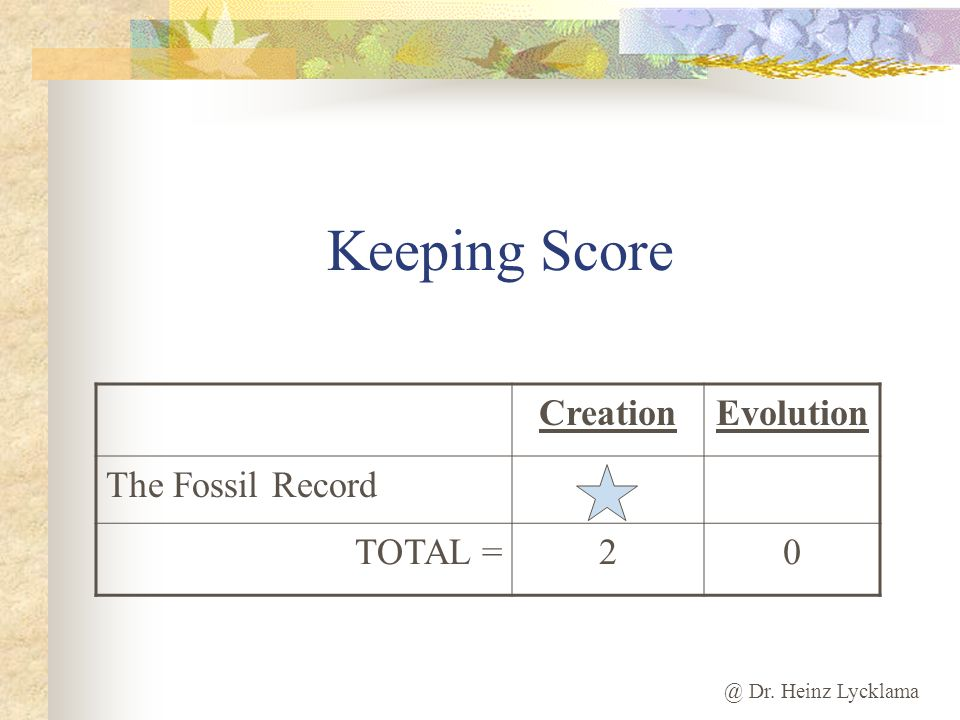 Keeping Score Creation Evolution The Fossil Record TOTAL = 2