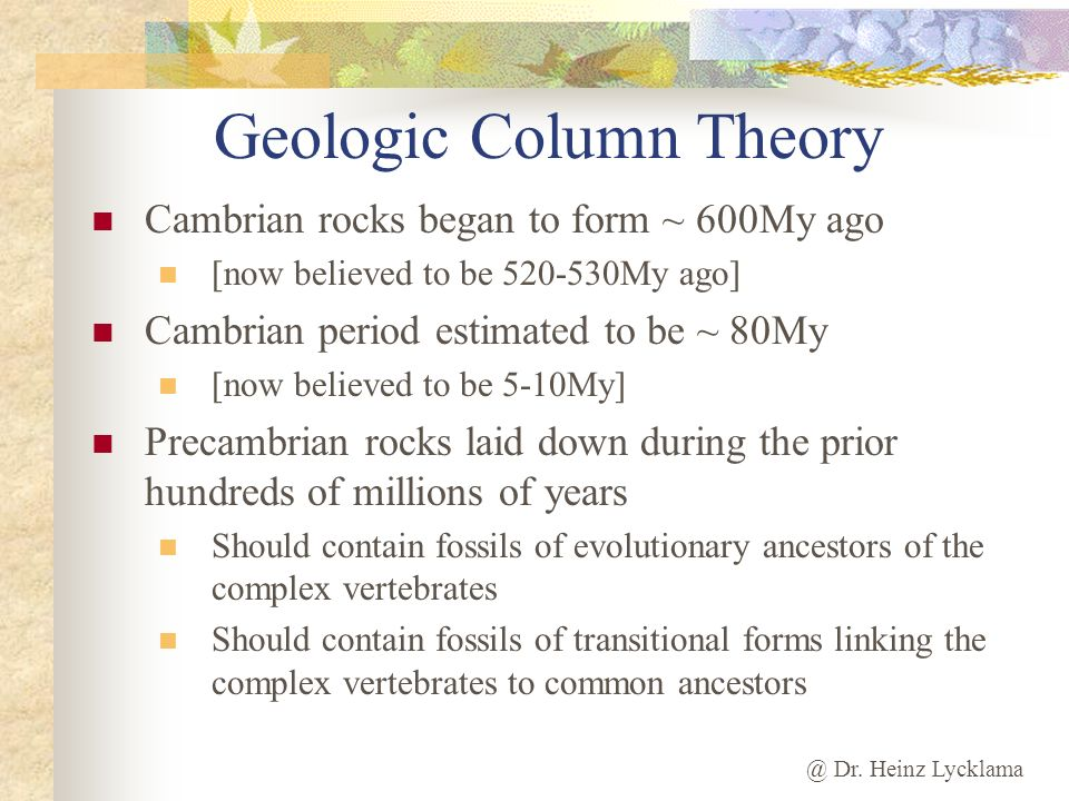 Geologic Column Theory