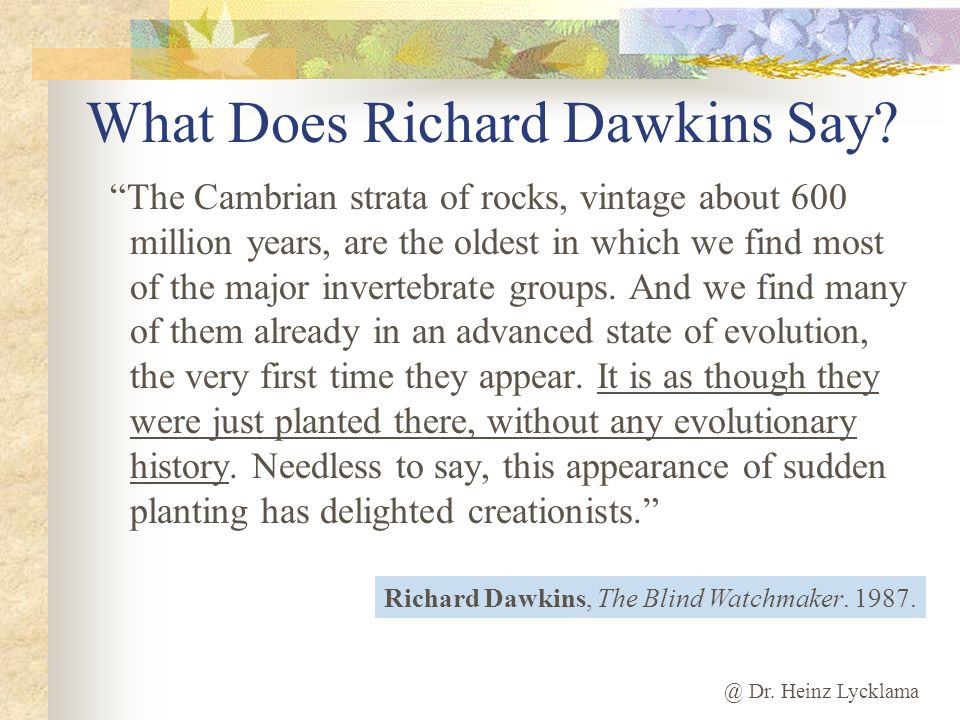 What Does Richard Dawkins Say