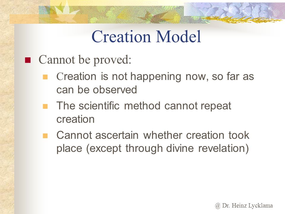 Creation Model Cannot be proved: