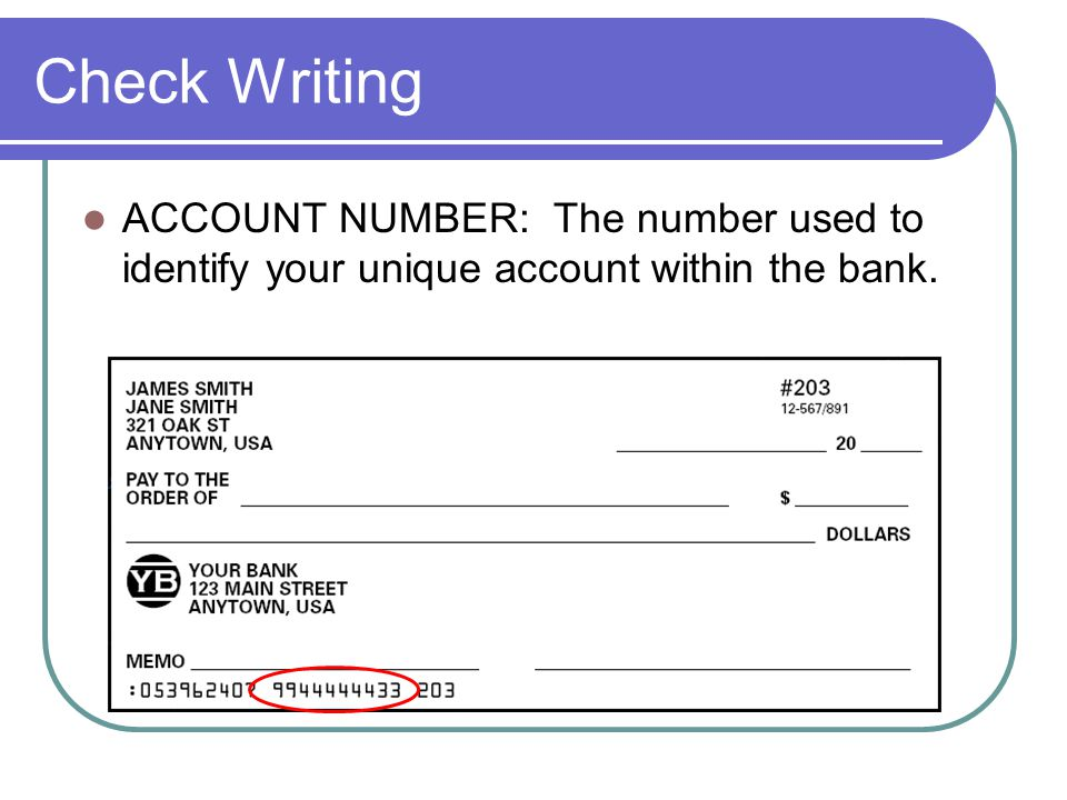 Check Writing ACCOUNT NUMBER: The number used to identify your unique account within the bank.