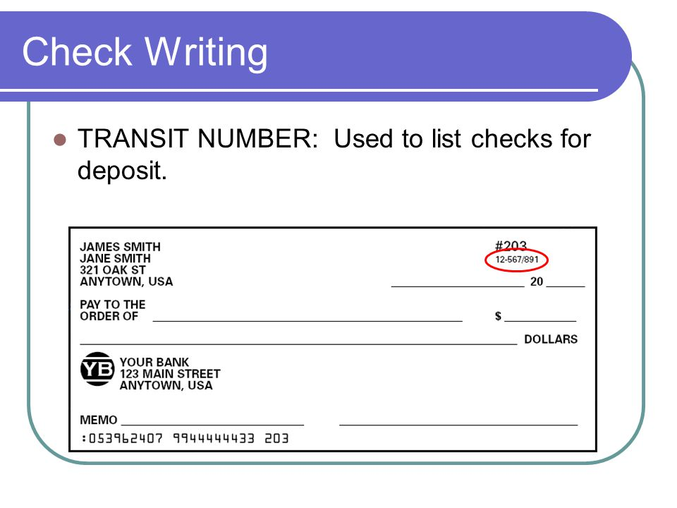 how to read a check transit number