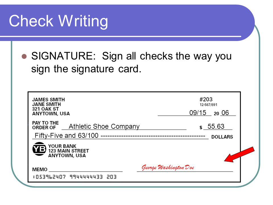 Check Writing SIGNATURE: Sign all checks the way you sign the signature card. 09/ Athletic Shoe Company.