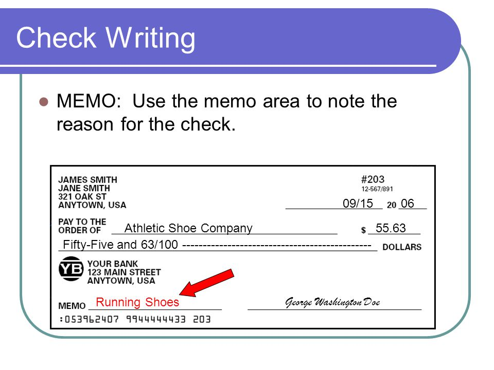 Check Writing MEMO: Use the memo area to note the reason for the check. 09/15 06. Athletic Shoe Company.