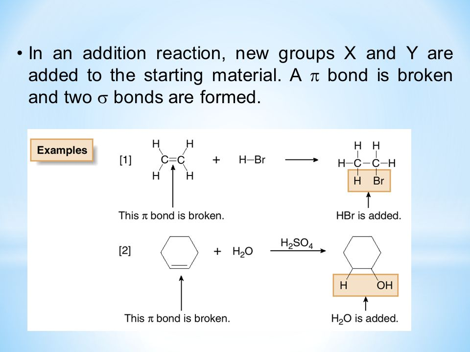 In an addition reaction, new groups X and Y are added to the starting material.