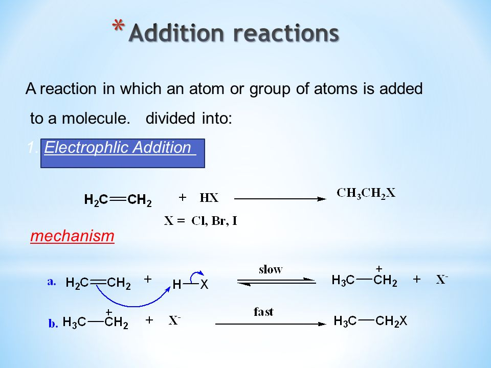 Addition reactionsA reaction in which an atom or group of atoms is added. to a molecule. divided into: