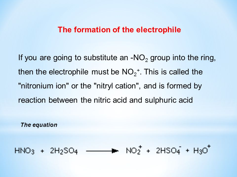 The formation of the electrophile