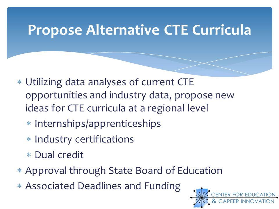 Propose Alternative CTE Curricula