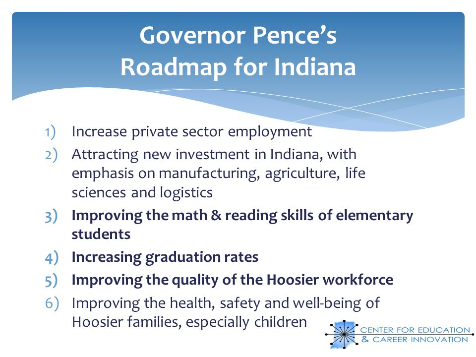 Governor Pence's Roadmap for Indiana