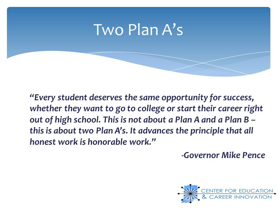 Two Plan A's