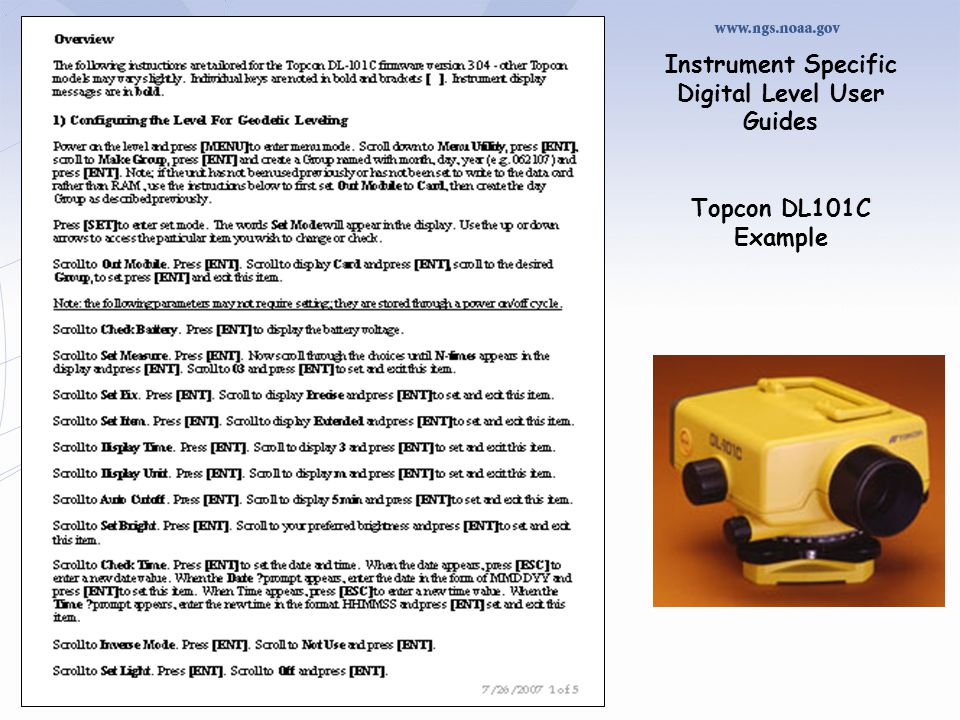 Instrument Specific Digital Level User Guides Topcon DL101C Example