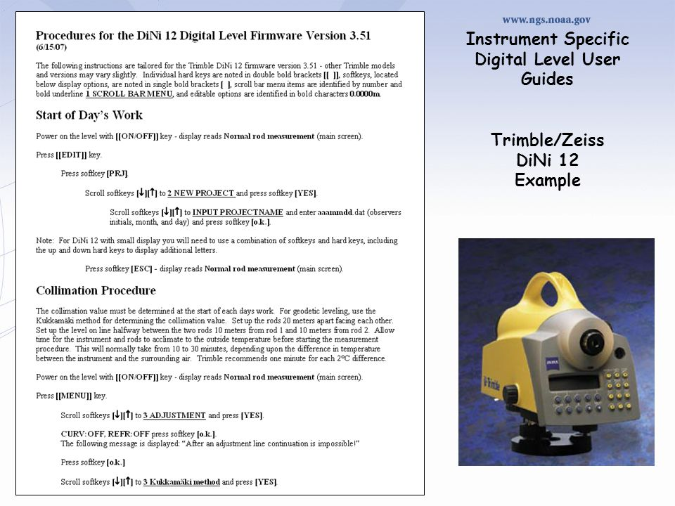 Instrument Specific Digital Level User Guides Trimble/Zeiss DiNi 12