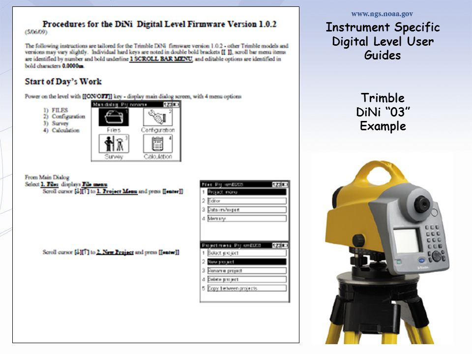 Instrument Specific Digital Level User Guides Trimble DiNi 03