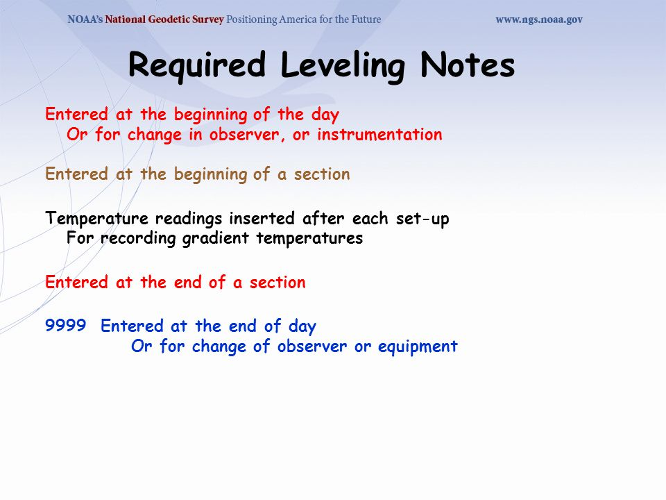 Required Leveling Notes