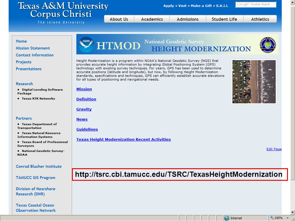 Home page and link to the Texas A&M University Corpus Christi describing their height modernization efforts and a link to their THM Digital Leveling Tool.