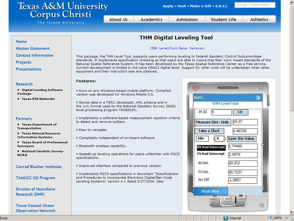Web link to the Texas A&M University Corpus Christi to their THM Digital Leveling Tool.