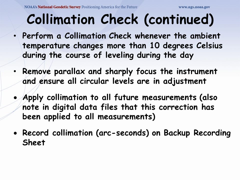 Collimation Check (continued)