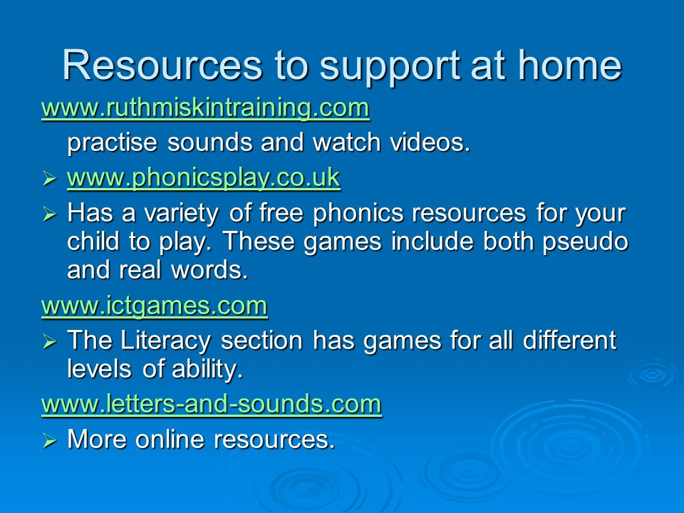 Resources to support at home